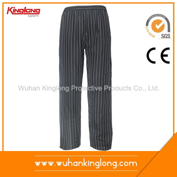 Polyester Cotton Stripe Work Chef Pants
