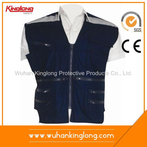 100% Polyester PVC Zipper Reflective Tape Vest