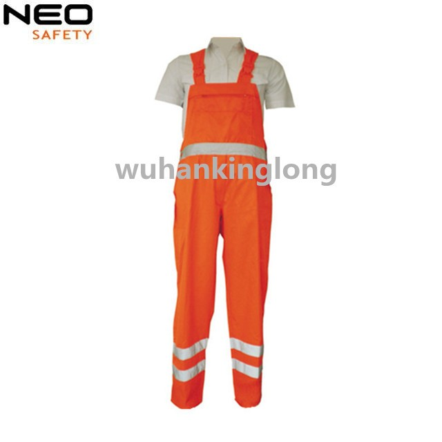 Safety rodaway bib pants with reflective tape working trouser