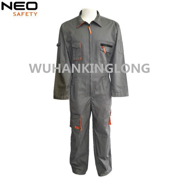 High Quality Polycotton Twill Gray+Orange Power Work Coverall