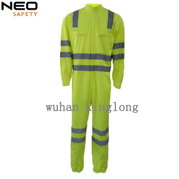 High Vis Yellow Industrial Safety Coveralls With Reflective Tapes