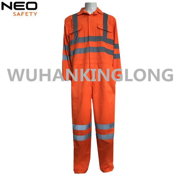 High Visibility Orange Overall with 5cm Width Reflective Tape