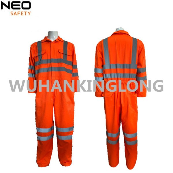 High Visibility Orange Safety Coverall with 5cm Width Reflective Tape