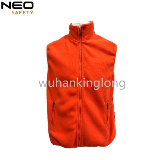 winter clothes polar fleece orange outdoor vest