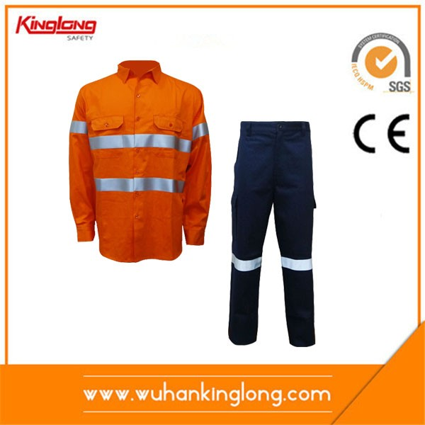 100%Cotton Two Tone Reflective tapes Work suit