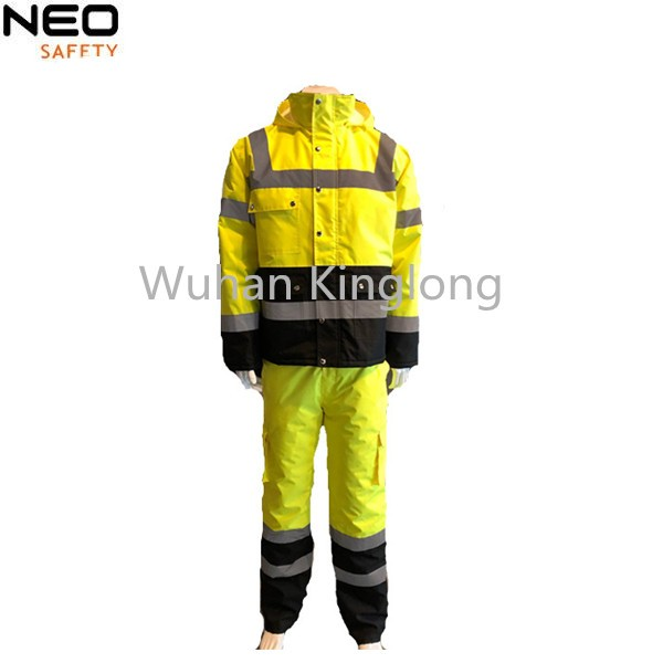 2 Pcs Triple Stitched Uniform Fluo Yellow Winter Jacket And Pants