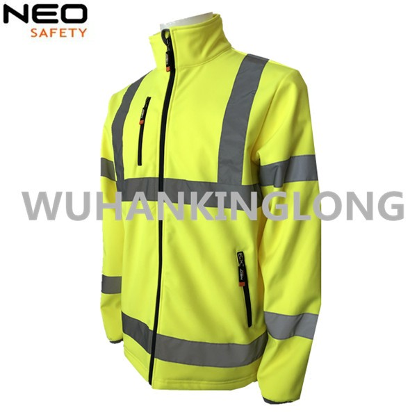 HIVI yellow softshell jacket with 5cm reflective tape