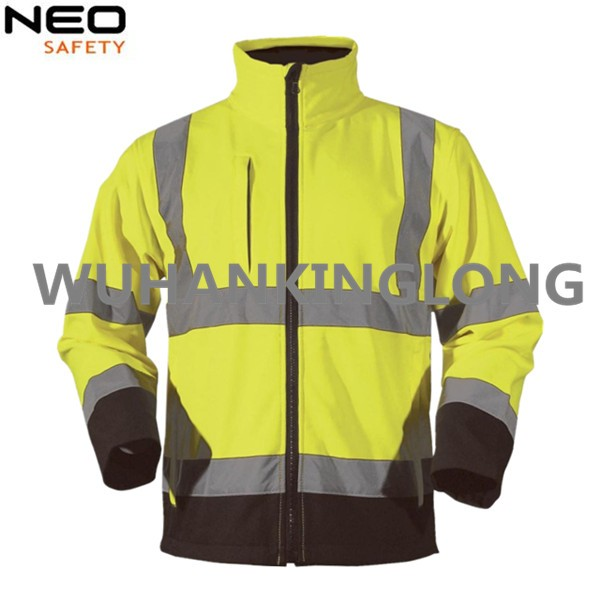 High Visibility Yellow Softshell Jacket with Reflective Tape