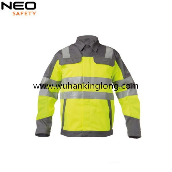 Men safety jacket visiable workwear  polar fleece  jacket