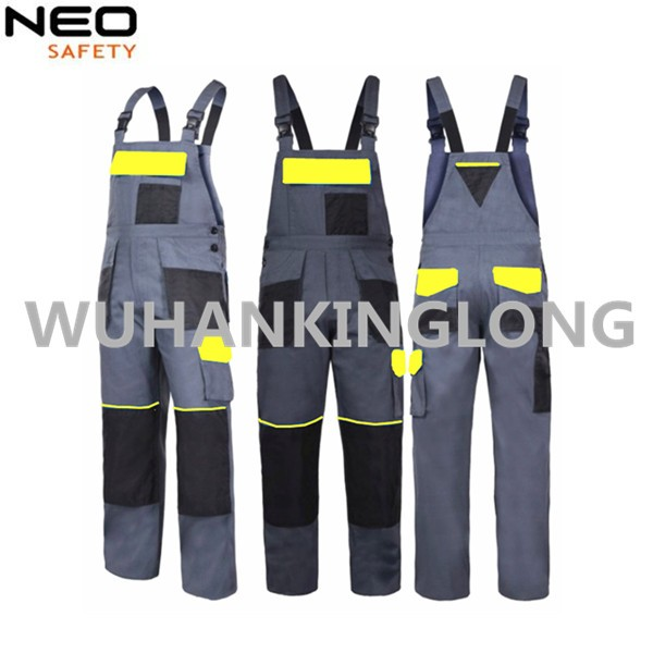 Mens Gray Workwear Bib Overalls Bibpants