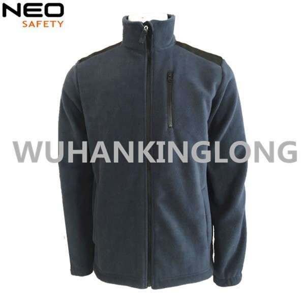 Navy Blue Fleece Jacket with Oxford Reinforcement on Shoulders and Elbows