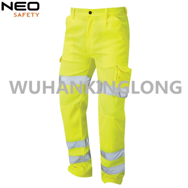 Manufacturer Supply HIVI Yellow Cargo Pants with Reflective Tape